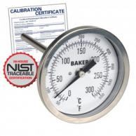 Baker T3004-550 Bimetal Thermometer 50 to 550F (0 to 260C) with NIST Traceable Certificate